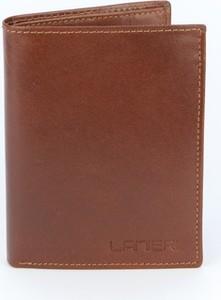 Brązowy portfel męski Lanieri na karty kredytowe ze skóry