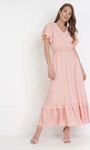 Sukienka born2be trapezowa maxi z krótkim rękawem