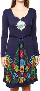 Sukienka Desigual prosta z długim rękawem mini