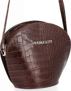 Brązowa torebka VITTORIA GOTTI z tłoczeniem ze skóry średnia