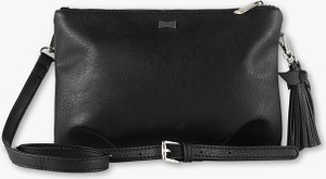 Czarna torebka C&A na ramię z frędzlami ze skóry