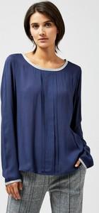 Niebieska bluzka Moodo z okrągłym dekoltem z długim rękawem
