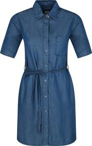 Niebieska sukienka Pepe Jeans z krótkim rękawem w stylu casual