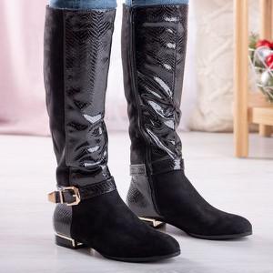 Czarne kozaki Royalfashion.pl na zamek przed kolano w stylu casual