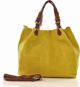 Żółta torebka MAZZINI duża ze skóry