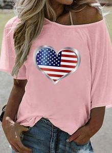 Różowy t-shirt Sandbella z krótkim rękawem z bawełny