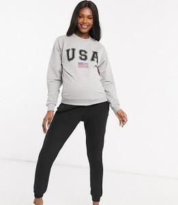 ASOS DESIGN Maternity – Szara melanżowa bluza z nadrukiem USA-Szary