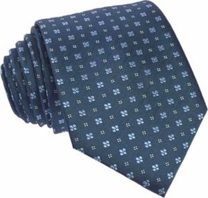 Granatowy krawat republic of ties w kwiaty z jedwabiu w stylu boho