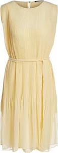 Żółta sukienka Set w stylu casual z okrągłym dekoltem bez rękawów