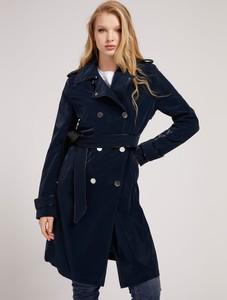 Granatowy płaszcz Guess w stylu casual