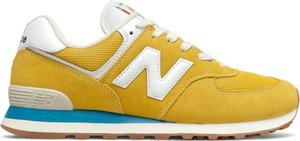 Żółte buty sportowe New Balance z zamszu sznurowane
