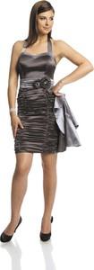 Brązowa sukienka Fokus z satyny mini