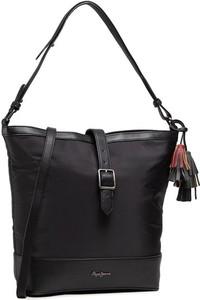 Czarna torebka Pepe Jeans na ramię duża matowa