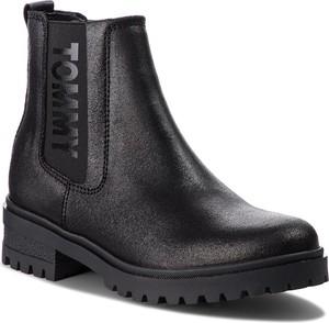 Czarne botki Tommy Jeans w stylu casual ze skóry ekologicznej