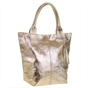 d13d8b8192432 Genuine leather torba shopper w kolorze złotym ze skóry naturalnej xl