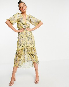 Sukienka Hope & Ivy z krótkim rękawem z dekoltem w kształcie litery v z żakardu