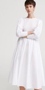 Sukienka Reserved z bawełny z długim rękawem w stylu casual