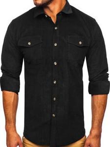Czarna koszula Denley z bawełny z klasycznym kołnierzykiem z długim rękawem