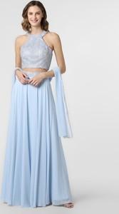 Sukienka Luxuar Fashion rozkloszowana bez rękawów z dekoltem halter