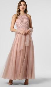 Różowa sukienka Unique z dekoltem halter maxi z tiulu