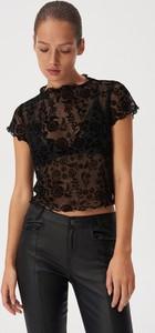 Czarny t-shirt Sinsay z krótkim rękawem z okrągłym dekoltem
