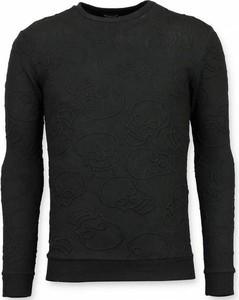 Czarny sweter TONY BACKER z wełny w stylu casual z okrągłym dekoltem