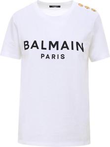 T-shirt Balmain w młodzieżowym stylu z krótkim rękawem z okrągłym dekoltem