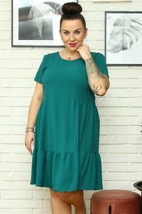 Zielona sukienka KARKO z okrągłym dekoltem mini