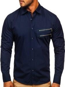 Granatowa koszula Denley z długim rękawem z bawełny
