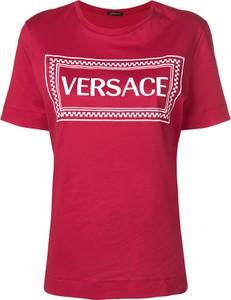 Czerwona bluzka Versace z bawełny z krótkim rękawem