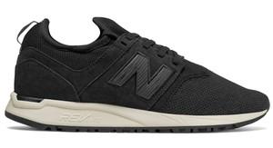 Czarne buty New Balance sznurowane z nubuku z płaską podeszwą