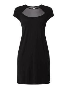 Czarna sukienka Armani Exchange z krótkim rękawem mini z okrągłym dekoltem