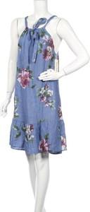 Niebieska sukienka Puro Lino mini z okrągłym dekoltem