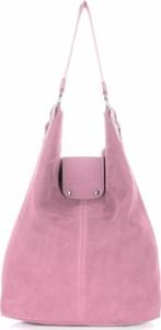 Torebki skórzane typu shopperbag firmy vittoria gotti pudrowy róż