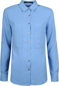 Niebieska koszula Guess z długim rękawem z tkaniny