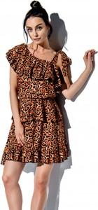 Brązowa sukienka Lemoniade mini z krótkim rękawem