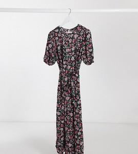 New Look Maternity – Sukienka midi w kwiaty z paskiem-Czarny