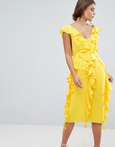 Żółta sukienka Asos Design z dekoltem w kształcie litery v z krótkim rękawem