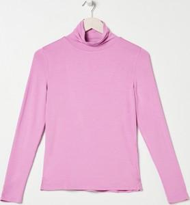 Różowa bluzka Sinsay z długim rękawem w stylu casual z golfem
