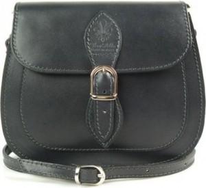 Czarna torebka Vera Pelle ze skóry na ramię