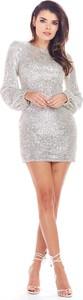 Srebrna sukienka Awama z okrągłym dekoltem mini