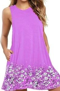 Fioletowa sukienka Arilook z okrągłym dekoltem w stylu boho