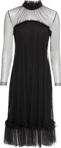 Czarna sukienka bonprix BODYFLIRT boutique z długim rękawem midi