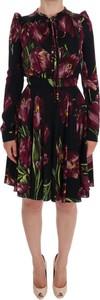 Czarna sukienka Dolce & Gabbana z długim rękawem
