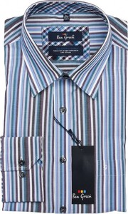 Niebieska koszula Ben Green z długim rękawem z bawełny