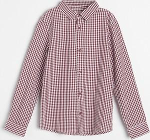 Czerwona koszula dziecięca Reserved w krateczkę dla chłopców