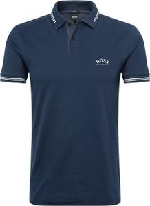 Granatowa koszulka polo Boss z dżerseju z krótkim rękawem