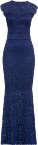 Granatowa sukienka bonprix BODYFLIRT boutique maxi z krótkim rękawem