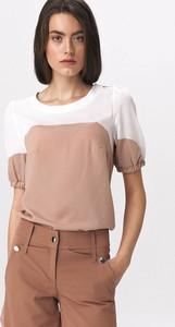 Bluzka Nife z okrągłym dekoltem w stylu casual z krótkim rękawem