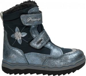 Srebrne buty dziecięce zimowe Primigi ze skóry